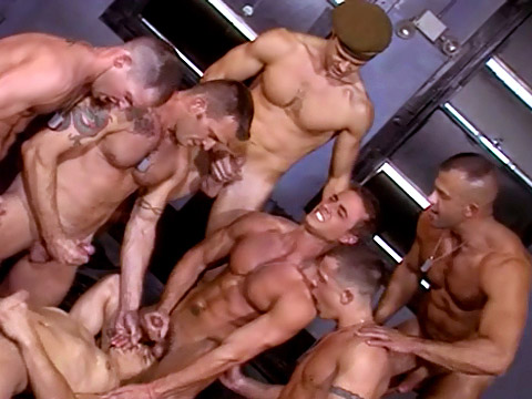Ripped guys gangbang